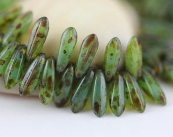 100 pcs.Czech Glass Dagger Beads 3x11mm : Picasso-Milky Turquoise
