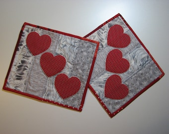 Valentine Quilted Mug Rugs, Modern Appliqued Heart Snack Mats, Red and Grey Mug Mats, Set of 2, Quiltsy Handmade