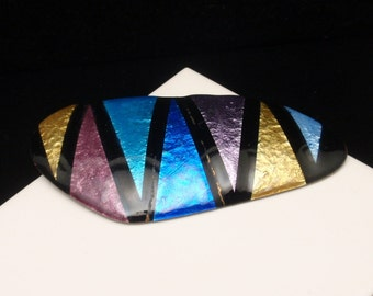 Abstract Modernist Brooch Pin Foil Enamel Bright Colors