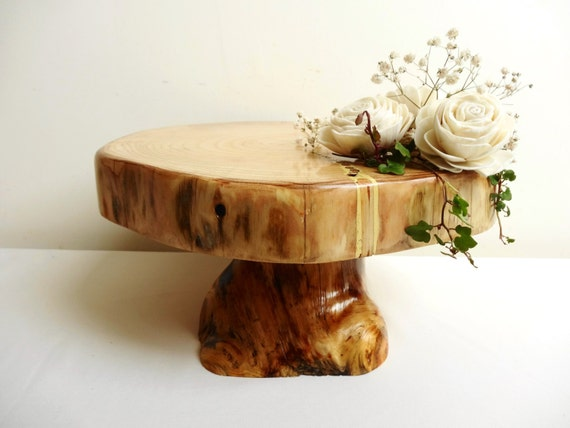 Wooden cake stand pedestal rustic wedding by