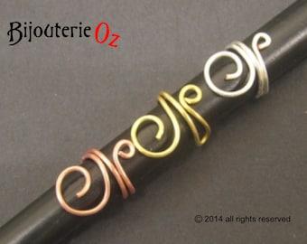 Ear Cuff, Swirly Ear Cuff handmade by BijouterieOz.  Choose from left or right, Sterling Silver wire, Brass or Copper Wire.