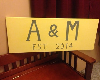 Personalized sign for couple. Great housewarming gift!