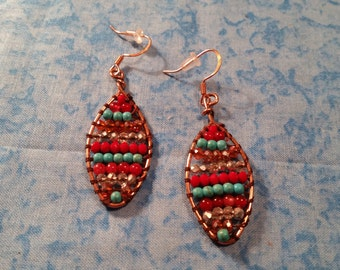 Banded Wire Wrapped Copper Colored Earrings