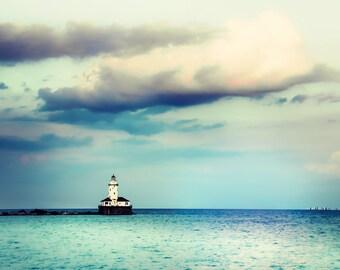 "Chicago Art, Lighthouse Photography, Lake Michigan, Chicago Print, Blue Wall Art, Nautical Decor, Chicago Lighthouse - ""Harbor Lighthouse"""