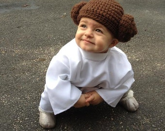 Toddler Princess Leia Hat costume crochet beanie, Baby toddler girl pretend Princess Leia play outfit for Star Wars Mom Dad, Kids cosplay