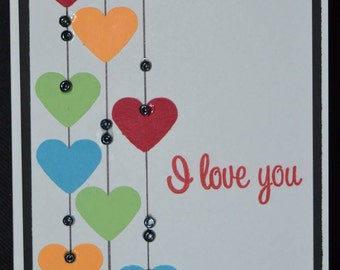 I love you // Anniversary // Valentines Day // Homemade Greeting Card