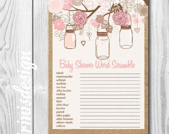 Baby word scramble | Mason Jars Floral baby shower game | PRINTABLE, Print at home, DIY | 88
