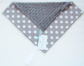 Gray and White Mini Minky Blanket, Lovey Blanket, with Pacifier Loop, Gray and White Polka Dot, Charcoal Gray Minky Dimple Dot