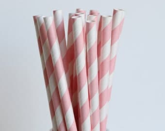 Light Pink Striped Paper Straws-Light Pink Straws-Striped Straws-Wedding Straws-Party Straws-Shower Straws-Mason Jar Straws-Cake Pop Sticks