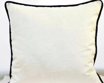 Black and White Pillow Cover,Velvet  Pillow Cover,Cream Velvet Pillow with Piping,Pillow with Black Piping