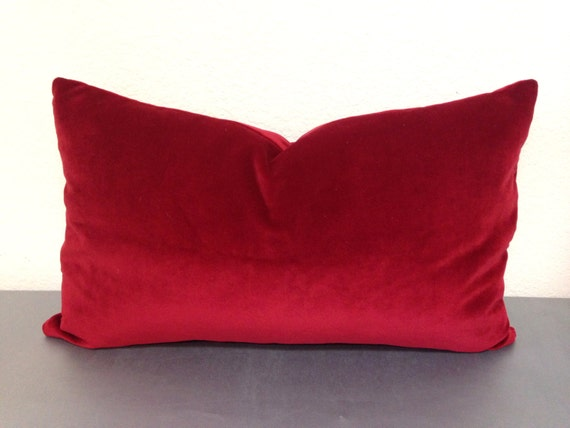 Red Velvet Pillow Cover Red Lumbar Pillow/Red By Pillowpuff