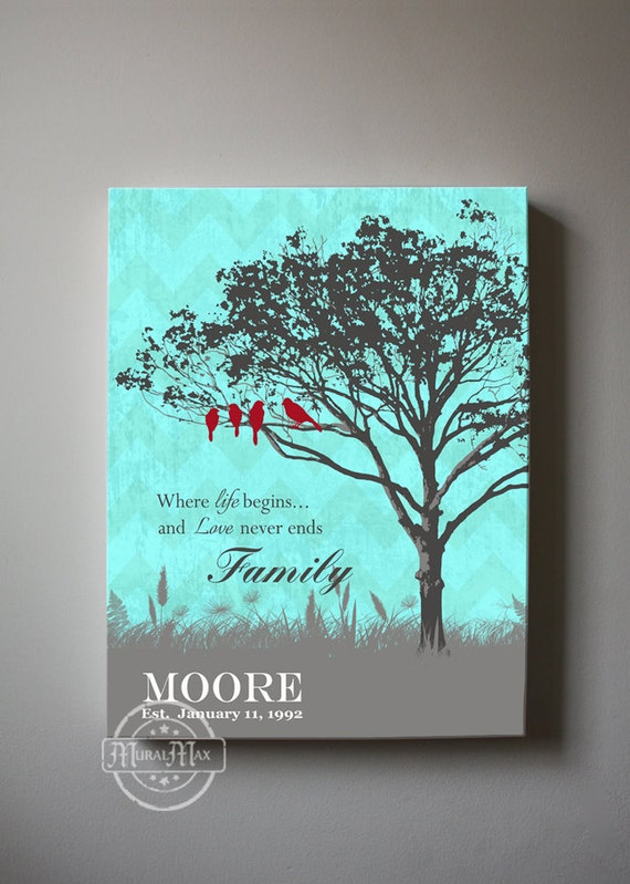 Personalized Family Tree Home Decor Canvas Wall Art