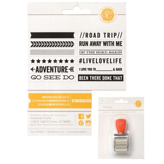 American Crafts Studio Calico Wanderlust Rolling Phrase Stamp, Rubber