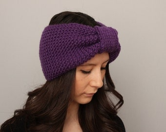 Knitted turban headband  , woman headband  ,ear warmer,purple