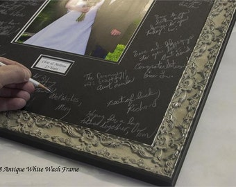 Signature Mat  WITH Frame. Silver, Gold, White or Black 16x20 Signature Mat. Personalized for your wedding or event