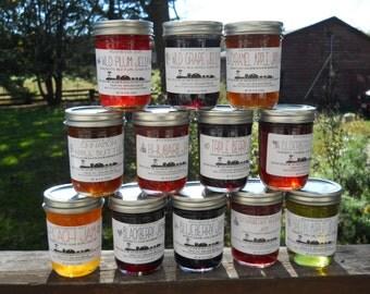 Bulk Jam Lot - Case of 12 Jars - Hand Crafted Assortment - Choose from 50 flavors - Hostess Gift - Boondock Enterprises - Gluten Free Jelly