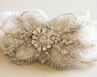Seed bead and rhinestone wedding garters - Style R38