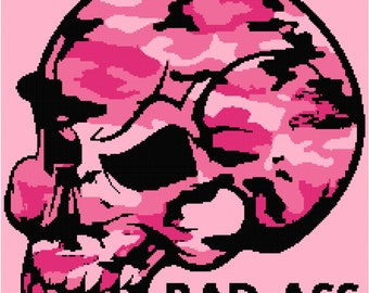 Pink Camouflage Skull Blanket Pattern