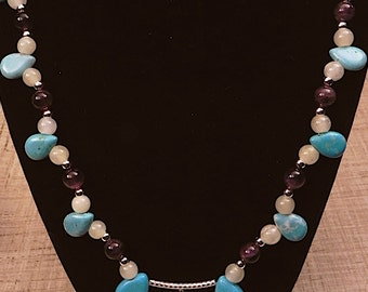 Turquoise, amethyst and jade necklace