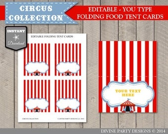 INSTANT DOWNLOAD Editable Circus or Carnival Food Tent Cards / Place Cards / You Type Text / Circus Collection / Item #1002