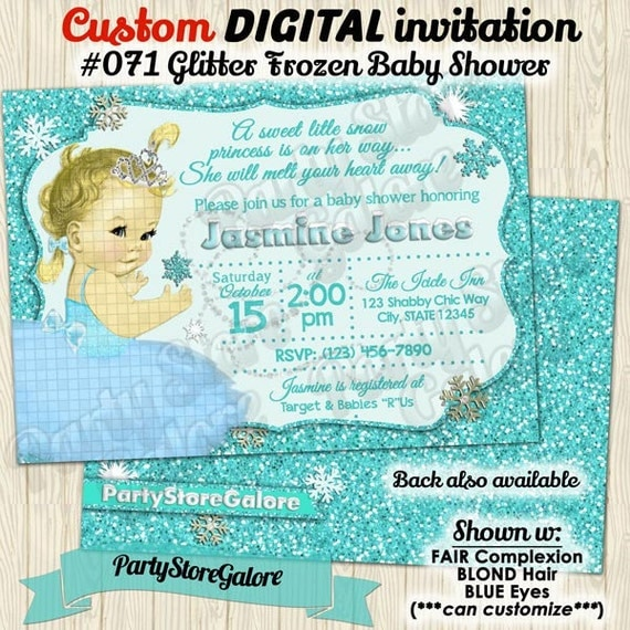frozen inspired baby shower invitation glitter blue vintage girl girls