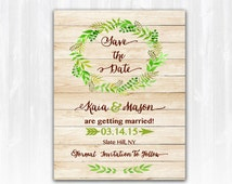 Wood Save The Date Magnet or Card DIY PRINTABLE Digital File or Print (extra) Spring Save The Date Wreath Save The Date