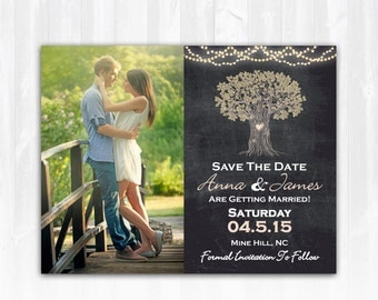 String Lights Tree Save The Date Magnet or Card DIY PRINTABLE Digital File or Print (extra) Chalkboard Save The Date Lights Save The Date
