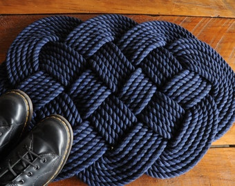 Nautical Decor - Navy Rope Rug - Navy Bath Mat - Cotton Rope Rug - (29 x 18)