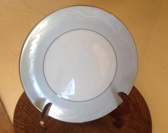 "Vintage Beautiful Noritake ""Laureate"" Pattern  Luncheon  Plate- Pale Blue and Platinum Rim"