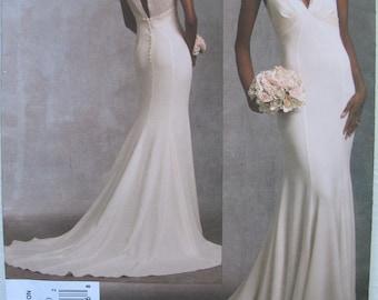 Vogue Wedding Dress pattern Size 12-16 Vogue 1032, Close fitting lined
