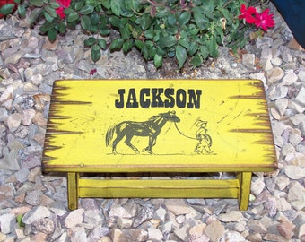 Western step stool for boys and girls. Personalized child's stool