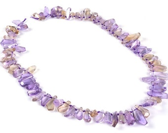 1044 13-25mm AAA faceted clear ametrine amethyst citrine nuggets sticks knotted loose gemstone beads 17""