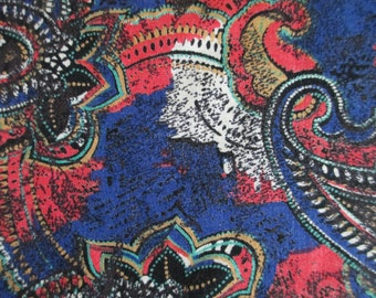 "1 and 3/4 yards of 57 "" wide challis or rayon  paisley print remnant fabric in  navy blue, red, black  and white   REDUCED PRICE"
