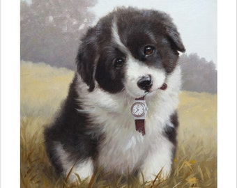 Border Collie Puppy, Timeout. Limited Edition Print. Personally signed and numbered by Award Winning Artist JOHN SILVER. jsfa034