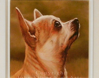 Coaster, Chihuahua Portrait. From an Original Painting by Award Winning Artist JOHN SILVER. Chc001