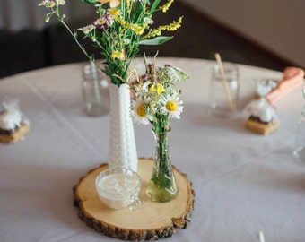 Wood round-wedding decor-table center piece-thanksgiving decor-holiday decor-vintage/rustic wedding