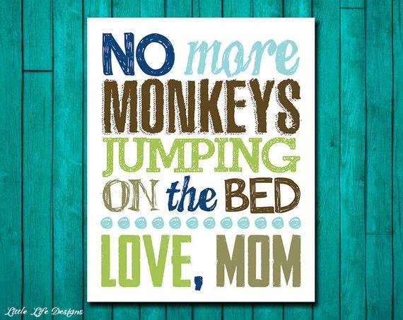 little boys wall art kids wall art no more monkeys jumping. Black Bedroom Furniture Sets. Home Design Ideas