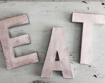 Black Distressed Eat Silver Letter Kitchen Decor; eat; eat letters; eat silver letters; silver letters; kitchen letters