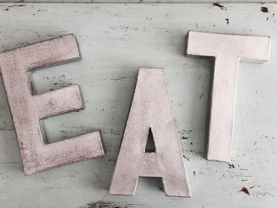 Black distressed eat silver letter kitchen decor eat eat for Kitchen letters decoration