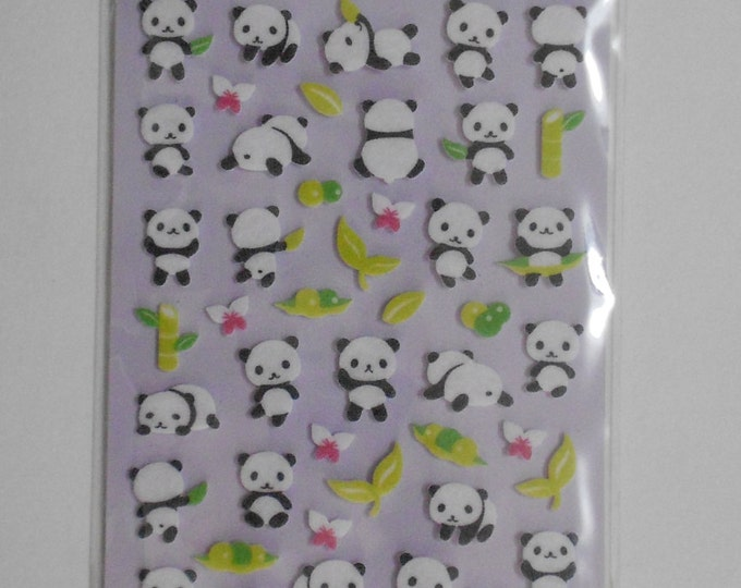 Kawaii Felt Panda Stickers