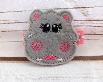 Hippo hair clip, hippopotumus felt girls hair accessory,girls hair clip, animal hair clip, toddler clip, girl clip, uk seller