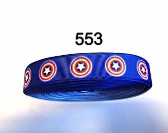 """3 or 5 yard - 7/8"""" Captain America Super Hero inspired on Blue Grosgrain Ribbon Hair bow"""
