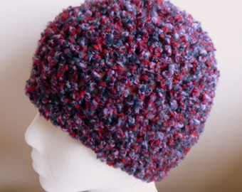 Purple Beanie Hat Purple Crocheted Beanie Hat Mauve Beanie Hat Fuzzy and Soft Beanie Hand Made