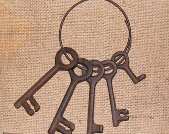 Cast Iron Jailers Keys Rustic Skeleton Western Primitive Reproduction #209