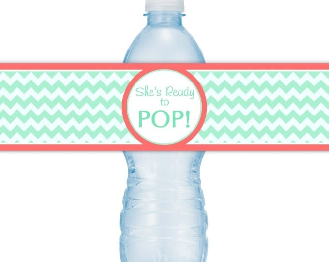 She's Ready To Pop Water Bottle Labels, INSTANT DOWNLOAD - Mint Chevron and Coral Ready to Pop Baby Shower, you print, you cut, DIY