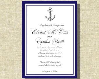 wedding invitations, Nautical wedding invite, Blue Sailboat invitation suite