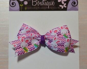 Boutique Style Hair Bow - Chevron Easter Bunny