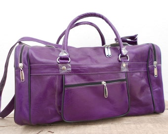 Mauve Purple Violet Leather Duffel Gym Luggage Bag for Women, Personalized Weekend Bag, Christmas Gift for her