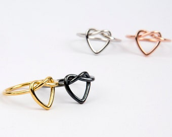 Silver heart knot ring  SOLID  GOLD heart knot ring  Love knot ring  Wedding jewelry  Bridesmaid jewelry    Rose knot ring Knot ring