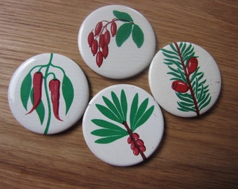 Set of 4 retro berrie brooches/badges/ button pins  from USSR